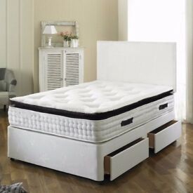 👍👍👍 BRAND NEW SMOOTH DIVAN DOUBLE BASE👍👍👍 with 😍😍LUXURY MEMORY FOAM MATTRESS😍😍
