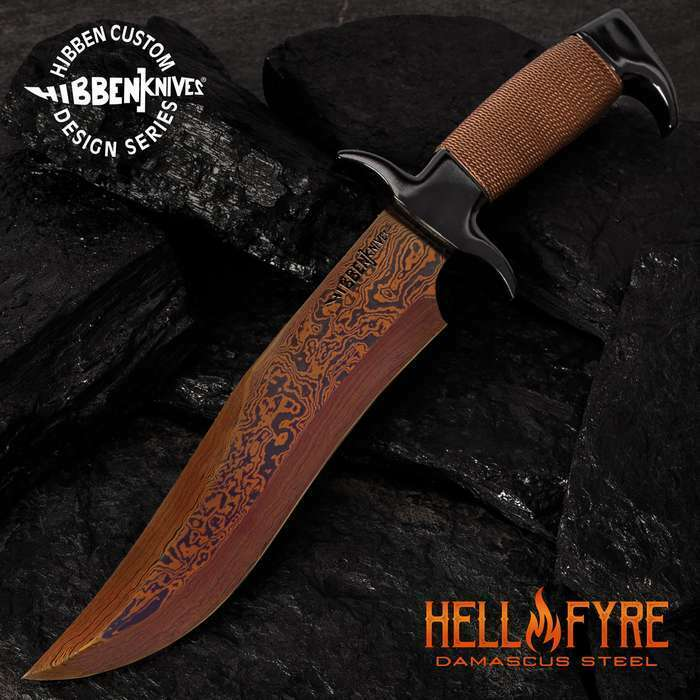 Gil Hibben Hellfyre Fixed Blade Knife Bowie Machete Hunting Damascus w/ Sheath