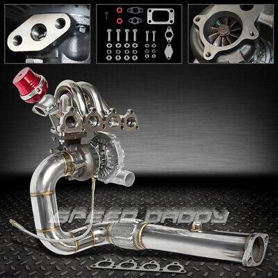 Crx Turbo Kits - T04E 5PC TURBO KIT+SS MANIFOLD+DOWNPIPE+WG 88-00 D15 D16 CIVIC CRX EE EF EJ EK