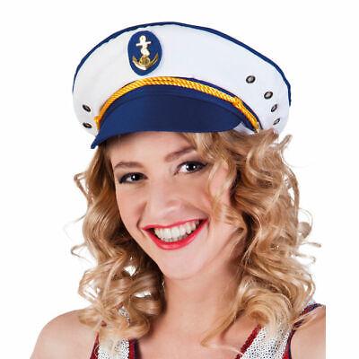 Hut Kapitänin Joyce, blau-weiß Kapitänsmütze