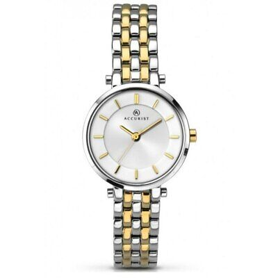 Accurist Ladies London Silver Dial Silver and Gold Bracelet Watch 8007 RRP £80 Accurist Ladies Bracelet