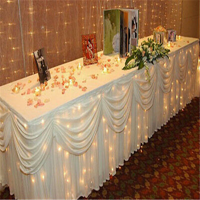 Luxury reception table cloth with swag drapes for wedding stage decorations