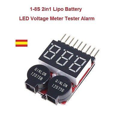 Probador Tester Medidor Baterias RC Lipo Li-ion LiMn Li-Fe 1S-8 2 en 1 Alarma segunda mano  Embacar hacia Mexico
