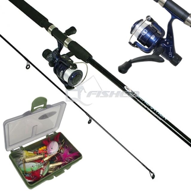 7ft fishing rod and reel set with 15 spinners | ebay, Fishing Reels