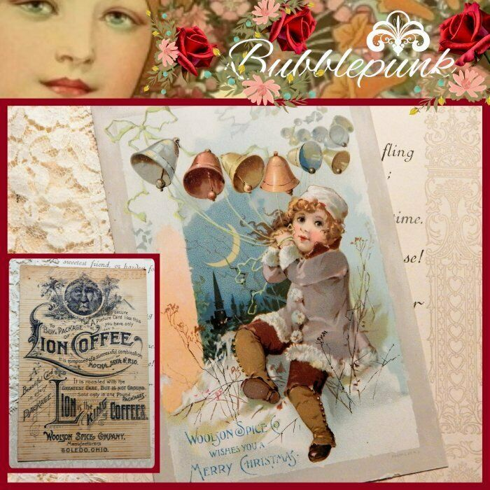 Antique LION COFFEE Woolson Spice Co Toledo Ohio Ad Trade Card Christmas Girl H