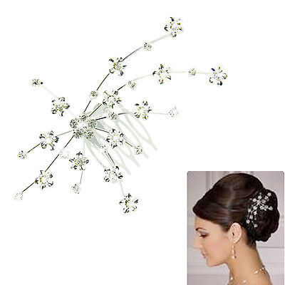 Ladies Silver Bridal Hair Comb Wedding Flower Crystal Rhinestone Diamante Clip