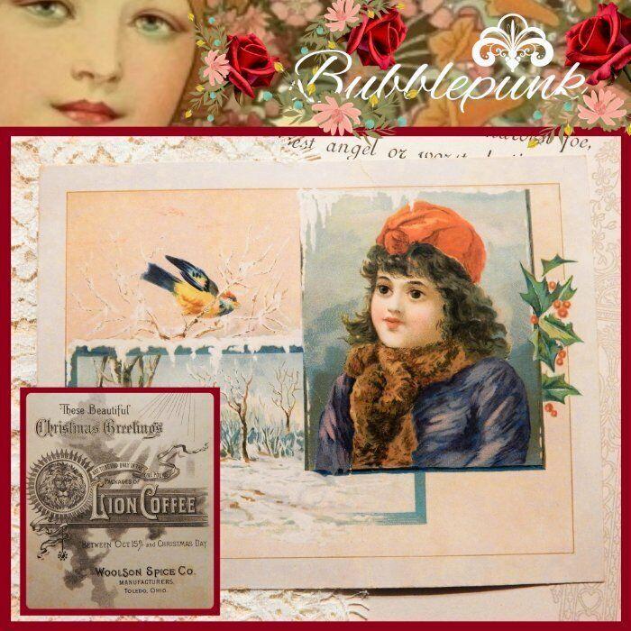 Antique LION COFFEE Woolson Spice Co Toledo Ohio Ad Trade Card Christmas Girl B