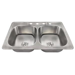 "Stainless Steel 33"" L x 22"" W Double Basin Drop-In Kitchen Sink"