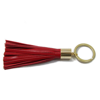 14k Keychain (Red Lambskin Leather Tassel Keychain with 14k Gold Plated Brass)