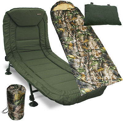 Carp Fishing BedChair 6 Legs NGT Pillow & Camo Sleeping Bag
