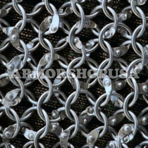 Round Riveted Aluminium Chain Mail Coif Medieval Armor