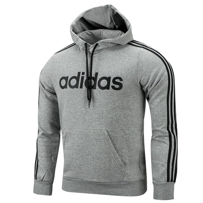 Probar agitación préstamo  Adidas Essential 3-Stripes Pullover Hoodie Pocket Long Sleeves Grey DU0495  | eBay