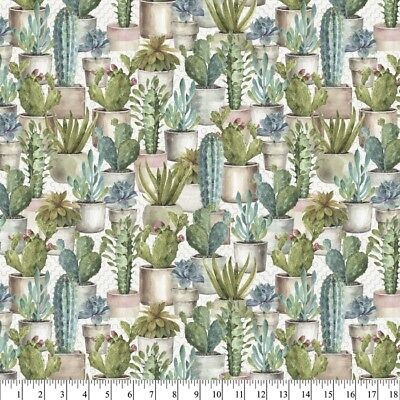 Fabric Cactus Verde Garden in Pots Full on Off White Cotton 1/4 Yard -