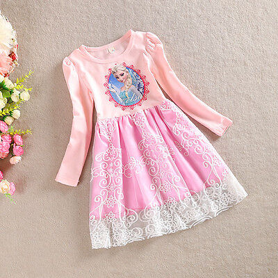 NEW USA Frozen Princess Elsa Lace Birthday Girls  Dress Pink 2T 3T 4 5 6 - 3t Birthday Dress