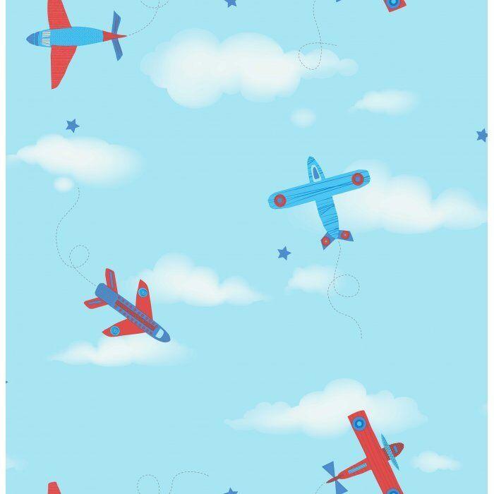 CAROUSEL DECORLINE RED BLUE PLANES CHILDRENS KIDS NURSERY BOYS WALLPAPER DL21134