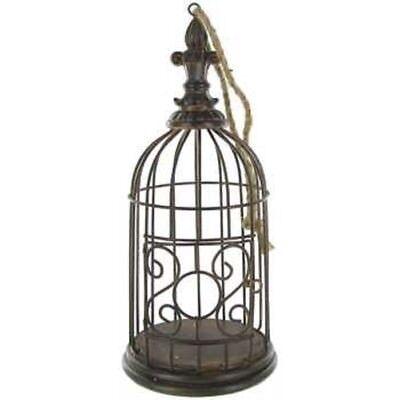 Antique Brown Metal Vintage Decorative Bird Cage, Floral Cage Fleur De Lis Top