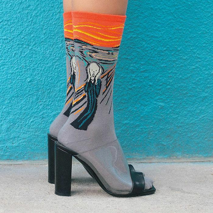Famous SCREAM Painting Edvard Munch Novelty Art Sock Funny Mens Womens Gag Gift