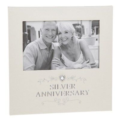 Silver Wedding 25th Anniversary Photo Frame Diamnate Heart Gift Box
