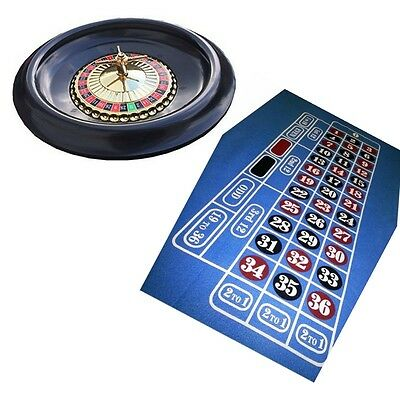 European Roulette Wheel Large 40cm Roulet Game Blue Layout Felt Home Casino Toy
