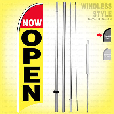 Now Open - Windless Swooper Flag Kit 15 Feather Banner Sign Yb-h