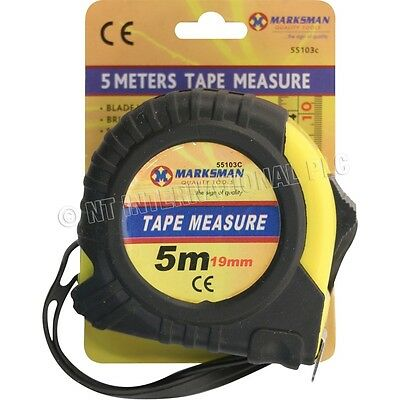 5 METRE MARKSMAN TOOLS TAPE MEASURE DIFFERENT LENGTHS AUTO LOCK RUBBERISED
