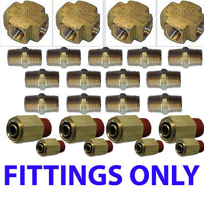 Air suspension valves Fittings only Kit all U need for 8 Brass Valves 38