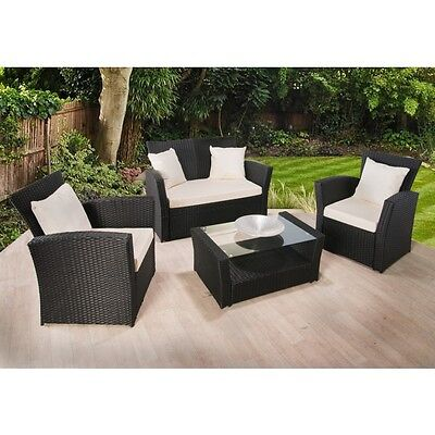 RATTAN GARDEN FURNITURE SET 4 PIECE CHAIRS SOFA TABLE OUTDOOR PATIO WICKER