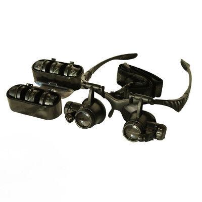 Profi Stirnlupe LED Licht Kopflupe Brillenlupe Lupenbrille+4 Linsen 10x15x20x25