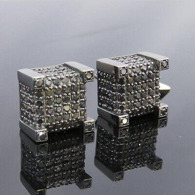 (NYJEWEL 10k Solid Gold Brand New Unisex Black Diamond Big Earrings)