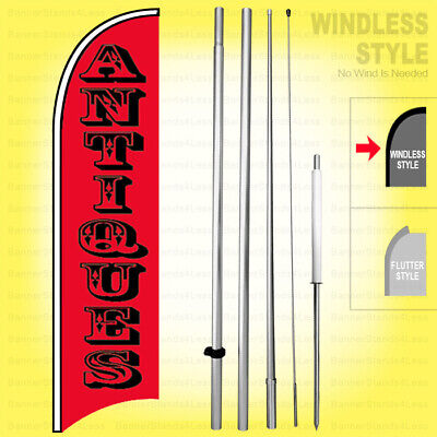 Antiques - Windless Swooper Flag Kit 15 Feather Banner Sign Rb-h