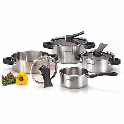 Happycall 3-Ply Stainless Pots 4 Set 16cm 20cm 24cm low 24cm high Induction