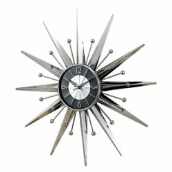 Starburst Wall Clock Over sized 23 5 Inch Shimmering Silver Finish Arabic Number