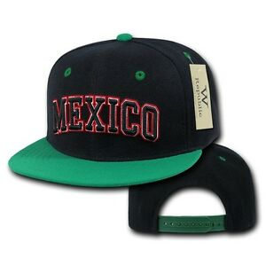 black mexico mexican soccer flat bill snapback snap
