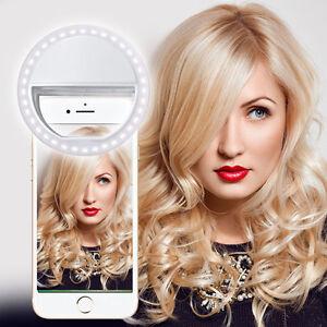 For ZTE Zmax - White Selfie 36 LED Ring Flash Fill Light Clip Camera