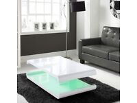 Tiffany White High Gloss Coffee Table with LED Lighting
