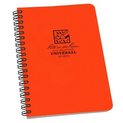 Rite In The Rain Or73 All-weather Universal Spiral Notebook Orange 4 58 X 7