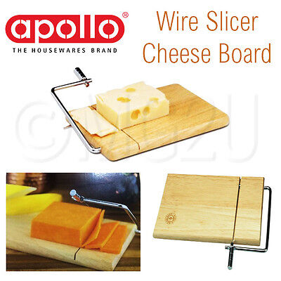 APOLLO WIRE CHEESE SLICER WOOD WOODEN BOARD CUTTER SLICING STEEL RUBBERWOOD