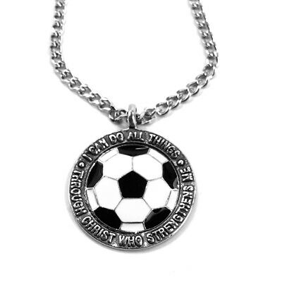 Soccer Necklace Phil 4:13 Antique Silver  (spschain) NWT