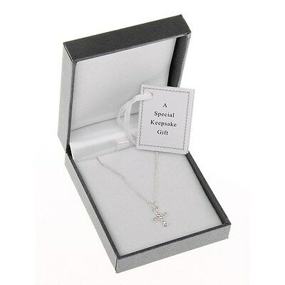 EQUILIBRIUM  SILVER PLATED NECKLACE DIAMANTE CROSS  CHRISTENING  CHILDRENS  6781