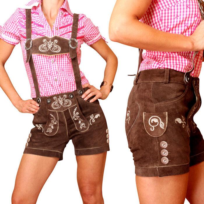 Lederhose Leather Trousers for Women short Braun Size 32-42 kudc4