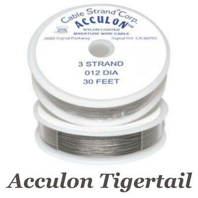 Acculon Tigertail Wire 3 or 7 Strand Stainless Steel Bead Stringing Choose Size