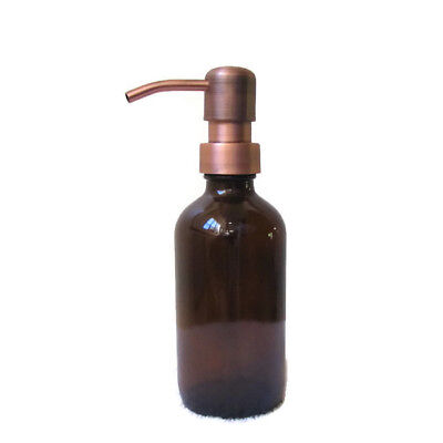 Amber Glass Soap Dispenser 8 oz with Antique Copper Soap Dispenser Pump (Copper Antique Soap Dispenser)