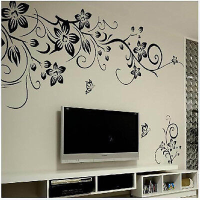 Home Decoration - Butterfly Flower Rattan Vinyl Art Wall Sticker Decal Mural Home Wall DIY Decor