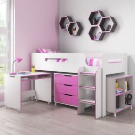 Brand New Dynamo Girls Pink Cabin Bed - Ladder Can Be Fitted Either Side!