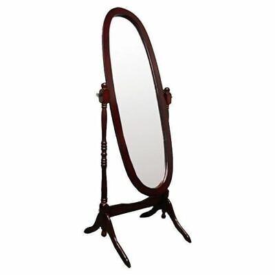 Cherry Finish Cheval Mirror Full Length Oval Swivel Floor Stand Bedroom Dressing
