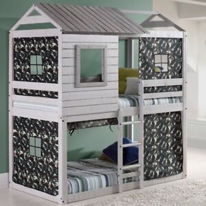 Twin over twin bunk bed, (house shape)