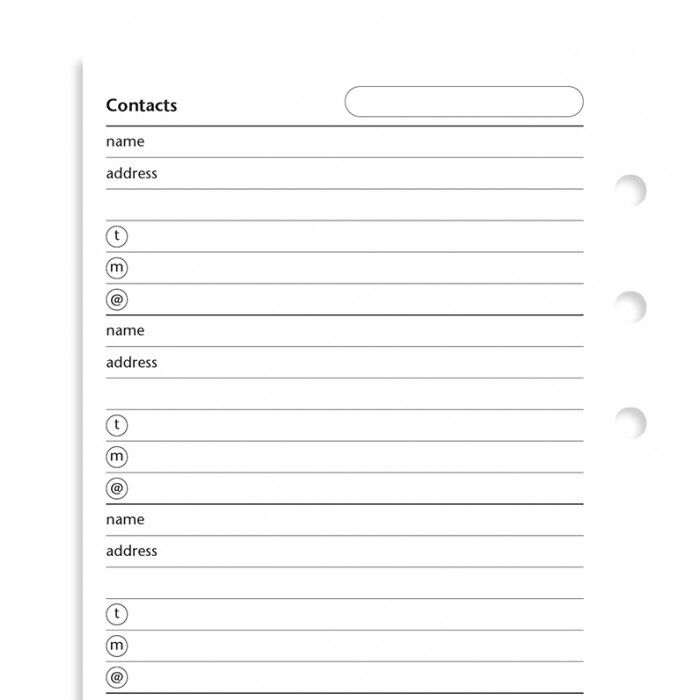 Filofax - Accessories - Personal - Contacts: Name, Address, Phone, E-mail Insert
