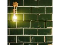 Metro Dark Green Ceramic Wall Tiles, brand new in box, 3sq m