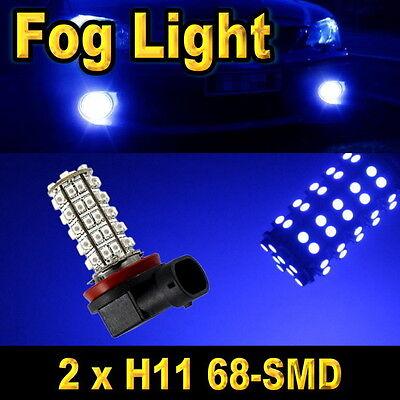 2x H11 68-SMD LED DRL.  Driving Fog Light Bulbs Blue