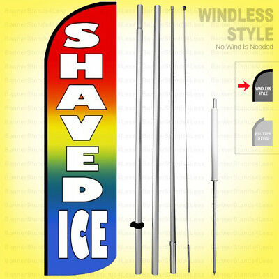 Shaved Ice - Windless Swooper Flag Kit 15 Feather Banner Sign Rainbow Q019-h
